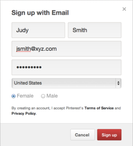 Sign up for a Pinterest account by email.