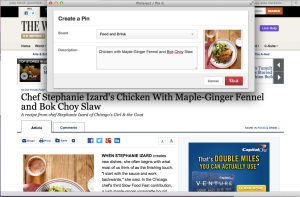 Pin your first recipe to your Food and Drink Pinterest board.