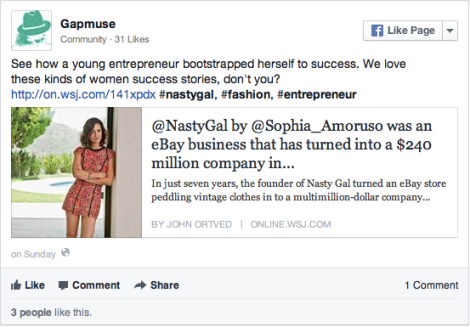 Facebook Post - Young Entrepreneur Bootstraps Herself to Success