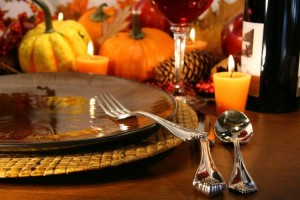 Image of with Thanksgiving dining set up.