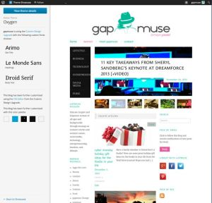 Screenshot of gapmuse as it was featured in WordPress Theme Showcase