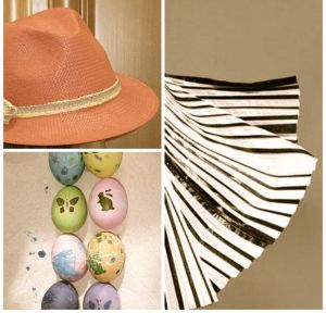 Image of a fedora, pleated skirt and colored/decorated Easter eggs