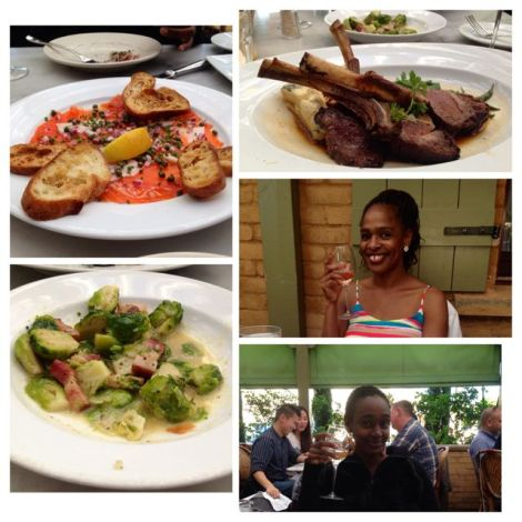 Image of food - salmon appetizer, brussels sprouts (as a side dish) and lamb chops.