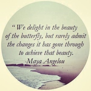 Quote by Maya Angelou - We delight in the beauty of the butterfly, but rarely admit the changes it has gone through to achieve that beauty.
