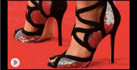 Image of woman's feet in high heal stiletto shoes
