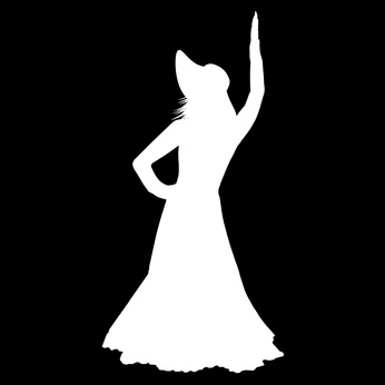 Silhouette of a girl on a black background