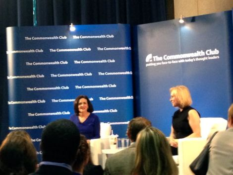 Image of Sheryl Sandberg and Senator Kirsten Gillibrand having a conversation at the Commonwealth Club Event
