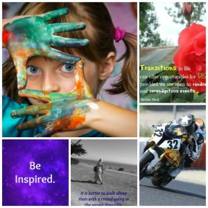 Collage of female super biker, girl with painted hands on her face, woman walking on a beach with a quote, image with a red rose