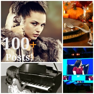 Collage of Thanksgiving dinner setting, fierce woman, Sheryl Sandberg at Dreamforce 2013 and young girl playing a piano