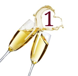 Image of 2 Champagne glasses with the number 1 between them