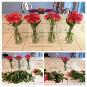 Collage of glasses with a pink roses.