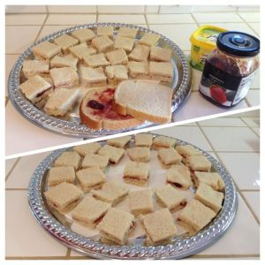 Butter and Jam tea party sandwiches on a silver tray
