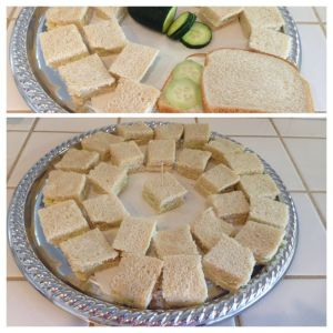 Cucumber tea party sandwiches on a silver tray