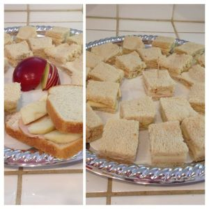 Apple and turkey tea party sandwiches on a silver tray