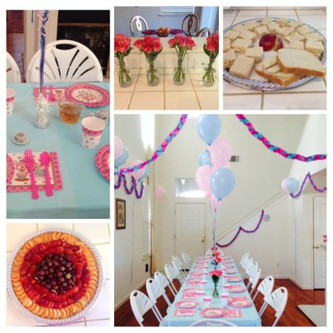 Collage of table set for a tea party, fruit platter, apple-turkey tea sandwiches, and pink rose flower centerpieces