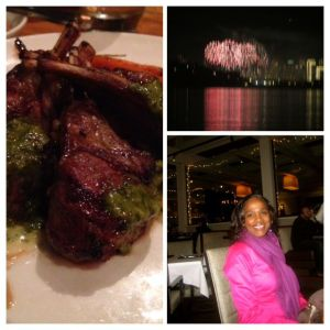 Collage with photos of 2015 New Years fireworks, plate of delicious lamp chops that I had for dinner and me
