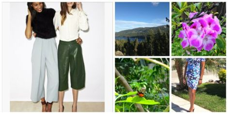 Collage of two smiling women with culottes, woman with flowered dress, butterfly, and Lake Tahoe