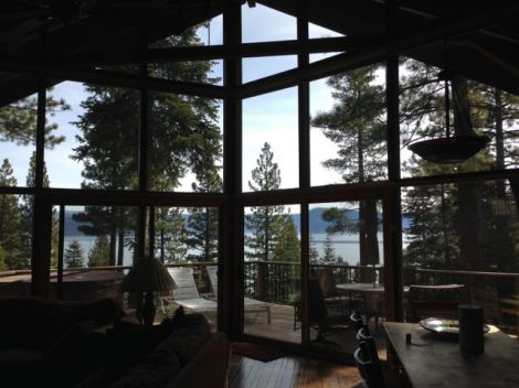 View of Lake Tahoe and the mountains from a cabin