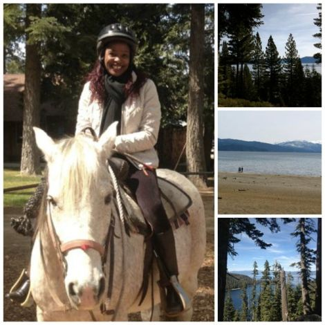 Collage of woman on a horse, Emerald Bay and beach at Lake Tahoe