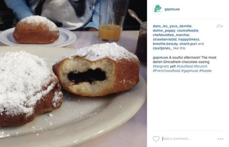 Instagram post with photo of delicious beignets.
