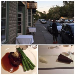 Image of steak and asparagus main dish and chocolate cake and ice cream desert.