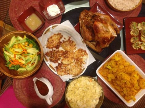 Image of table setting with Thanksgiving meal