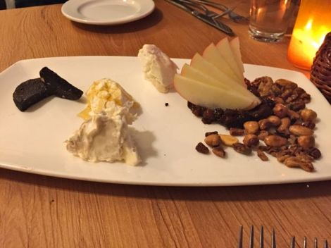 Image of delicious goat cheese assortment on a plate