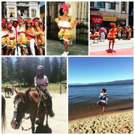 Collage of me on horseback, doing a yoga pause at the beach, and in full carnival costume at San Francisco Carnival 2016