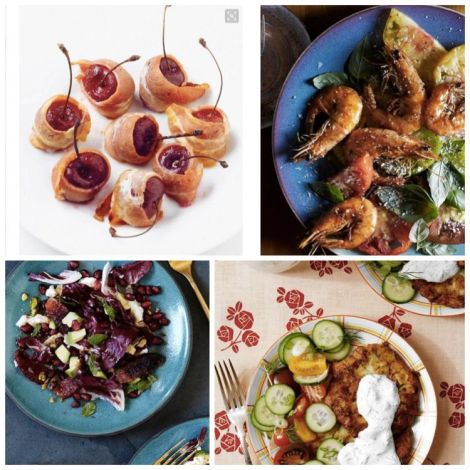 Image of salad and appetizer recipes including cherries wrapped in bacon, zucchini pancakes, Shrimp, tomato and aioli and more