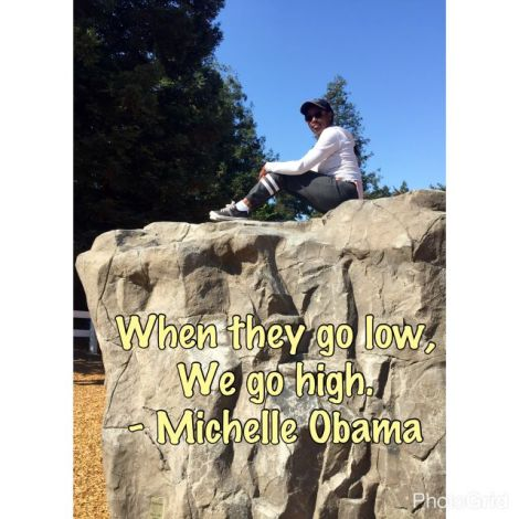 "Image of woman sitting high on a rock with quote from Michelle Obama ""When they go low, we go high"""