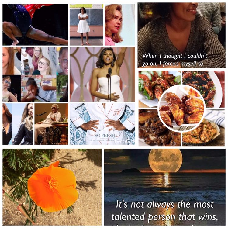 Collage of photos of women who've inspired us, spring blooms, and chicken wings