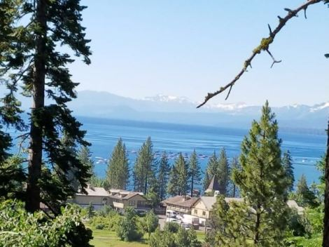 Image of beautiful view of Lake Tahoe from cabin deck