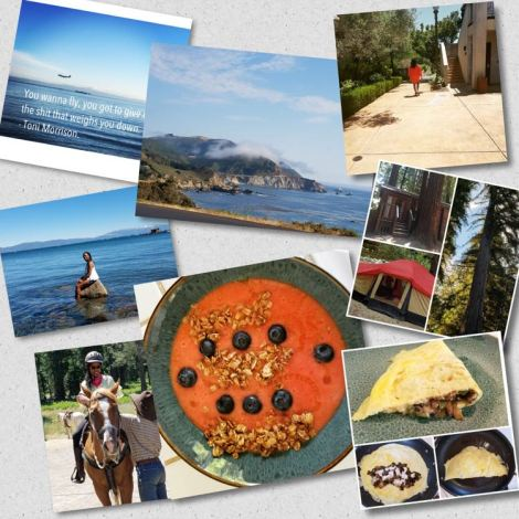 Collage of photos: woman on a horse, Acamai breakfast, Goat Cheese Omelette, Glamping in the woods, beautiful landscape of Half Moon Bay, Woman sitting in the water at Lake Tahoe