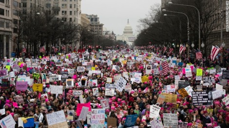 Image of thousands of women marching in DC