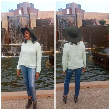Split image of a woman looking out into and away from a water fountain