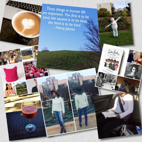 photo collage of inspiring women, quote, DIY smoothie, little reader, and decorated latte