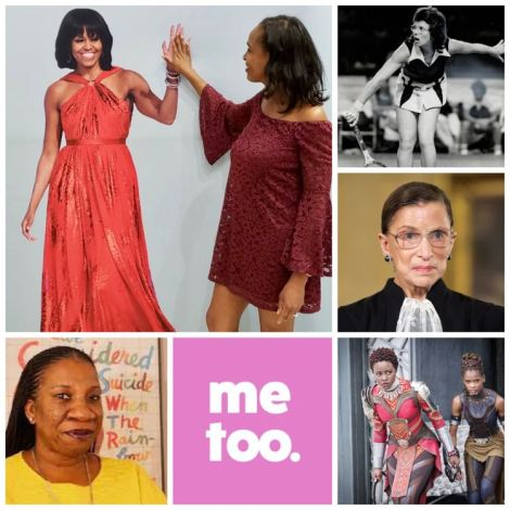Collage of inspiring women of 2018 - Tarana Burke, Michelle Obama, Women of Wakanda, Billie Jean King, RBG