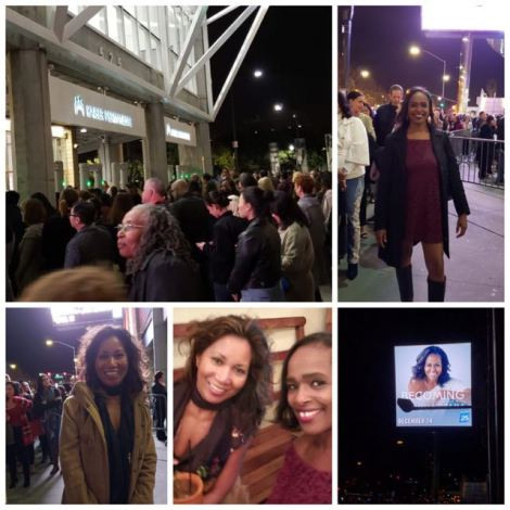 Collage of two women at the Michelle Obama book tour including shots of the arena