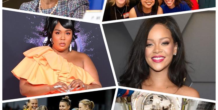 Collage of inspiring women of 2019 - Christine Lagarde, Rihanna, Lizzo, Australia Women's Soccer Team, Women of First Female Spacewalk and Women of LONA