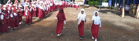 Image of school girls in uniform at a school parade